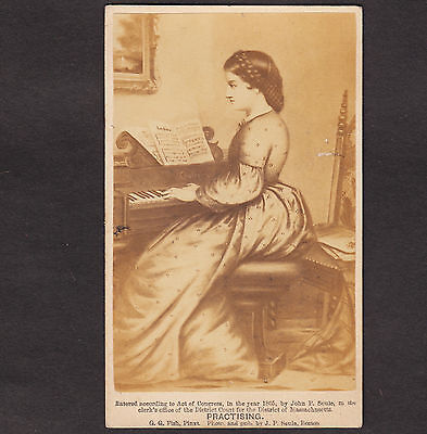 Antique 1865 © Chickering Piano Music Practising CDV John P Soule Victorian Card