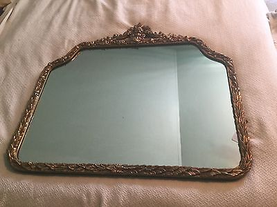 Large Vintage Ornate Wood Wall Mantle Mirror French Provincial Gold Gilt Baroque