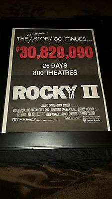 Rocky II Rare Original UA Box Office Promo Poster Ad Framed! #2
