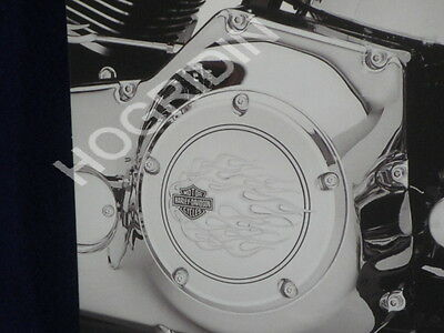 99 - 2017 Harley twin cam flames bar & shield derby cover dyna softail touring
