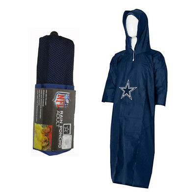 New NFL Dallas Cowboys Reusable Adult Rain Poncho Hooded & Storage Pouch