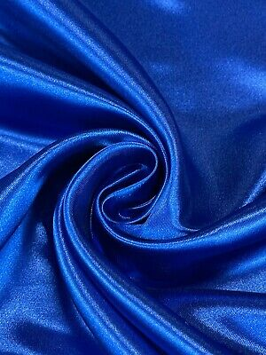 """Bridal Satin Fabric Royal Blue Nylon 60"""" Wide By The Yard Silky Soft and Durable"""