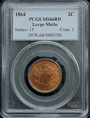 1864 Two Cent 2C Pcgs Ms66 Rd Red Large Motto - Rare 2 Cent Piece In Red!