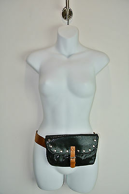 TWIGGY LONDON Studded Vegan Faux Leather Hip Sack Fanny Pack Purse Black Brown