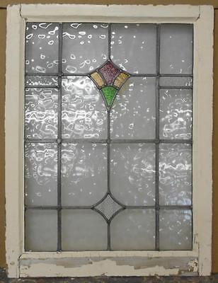 "MID SIZED OLD ENGLISH LEADED STAINED GLASS WINDOW Nice Geometric 21"" x 27.5"""
