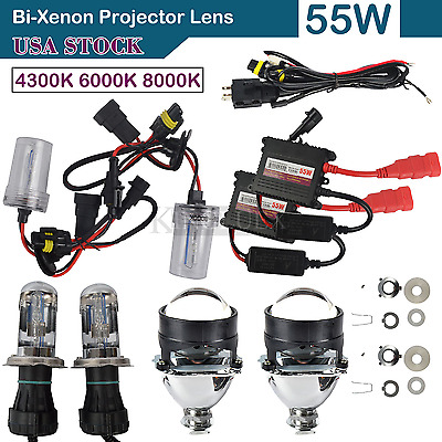 NEW Car Bi-Xenon HID Projector Lens Kit Hi/Lo HID Ballast H1 H4 H7 Conversion US