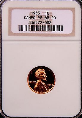 1953 Lincoln Wheat Cent Penny 1C Ngc Pf68 Pr68 Rd Cameo, Pg = $3,750!