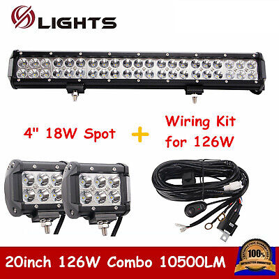 126W 20INCH CREE LED LIGHT BAR COMBO OFFROAD JEEP SUV With 18W Spot + Wiring Kit