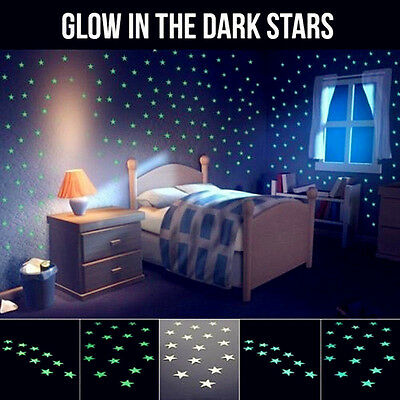 100pcs Light Green Glow In The Dark Star Stickers Baby Kids Room Wall Decal DIY