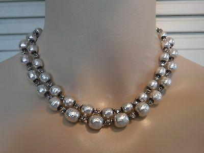 Vintage Miriam Haskell Big Baroque Silvery Pearl  Double Strand Choker Necklace