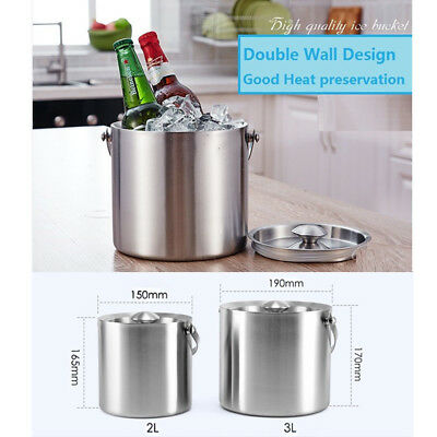 2L/3L Stainless Steel Ice Buckets Double Lifted Ice Bucket With Lid 7227HC