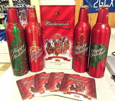 2006 Christmas Happy Holiday Budweiser Tin box with 4 Aluminum Bottle Beer Cans