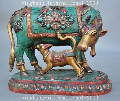 Old Tibet bronze inlay turquoise gem Coral fengshui Ox Bull Oxen cattle statue A