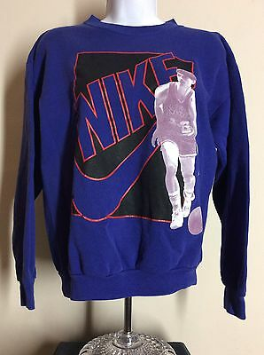 Vtg Early 90s Nike Gray Tag John Stockton Sweatshirt Blue Utah Jazz
