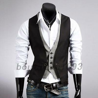 Double Layered Men's Color Block Faux Twinset Vest Waistcoat Top Faux Pockets