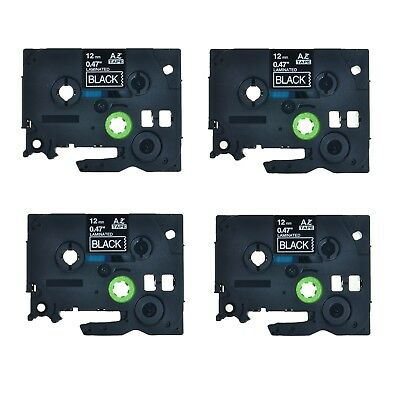 4PK TZ-335 TZe-335 White on Black Label Tape For Brother P-Touch PT-D210 12mm
