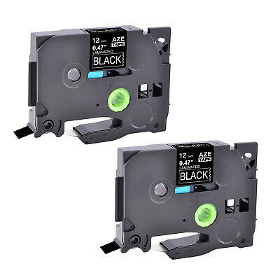2PK TZ335 TZe335 TZe-335 TZ-335 White on Black Label Tape For Brother 12mm 1/2""