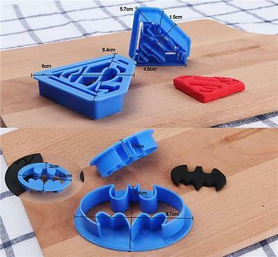 4 Pcs Batman Batwing Superman Superhero Cookie Cutter Fondant Mold Cake Toppers