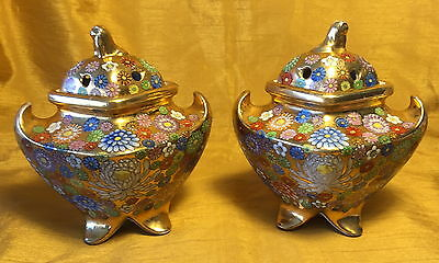Rare Vtg Pair Chinese Millefleur Thousand Flowers Incense Burners: Mark w Woman