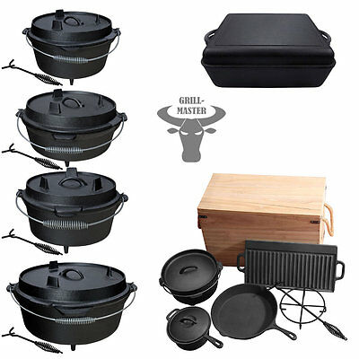 Dutch Oven Cast Iron Cookware Stew Open Fire Camping Cooking Pot Set Grillmaster