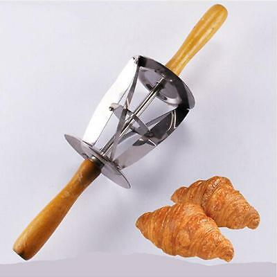 Wooden Handle Stainless Steel Croissant Maker Roller Patry Cutter Baking Tool