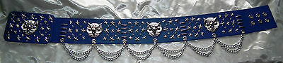 ELVIS STYLE OWL BELT IN ROYAL BLUE WITH SILVER TRIM FOR 70s OWL SUIT