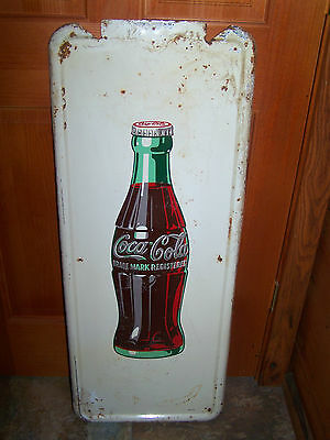 Old Antique Vintage 1947 Coca-Cola Soda Pilaster Metal Advertsing Bottle Sign