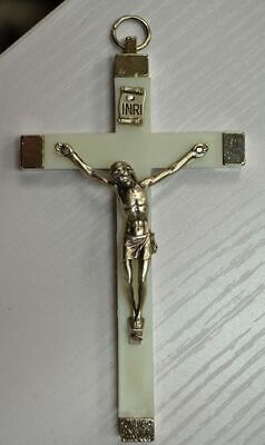 Wall Crucifix Metal Corpus, Luminous Metal Backed Cross, Made In Italy 110 x 65m