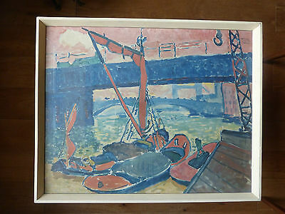 Vintage 1950s 1960s framed Derain print Barges on the Thames Fauvism mid century