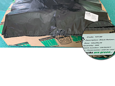 "High Quality commercial duty Bin bags, black bags 34"" 200 per box FREE POSTAGE"