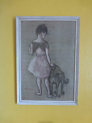 Vintage framed Picasso Print Girl with a dog 1905. Mid century Retro 1950s 1960s