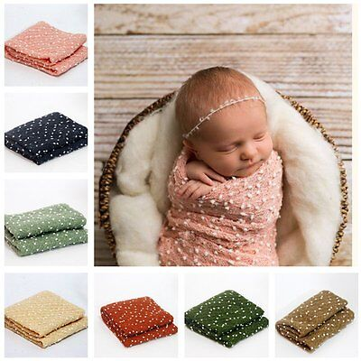 Newborn Baby Photography Photo Props Stretch Wrap Knit Swaddle Wrap Blanket Rug