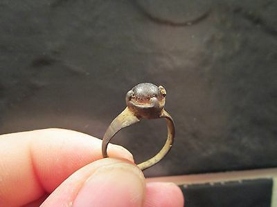 Fasinating Medieval c1400-1500 Bronze Ring with Original Stone