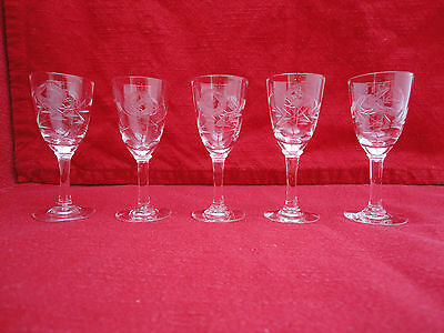 Etched Glassware Job Lot of 5 Small Glasses