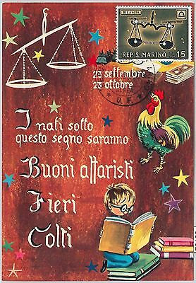 63782 -  SAN MARINO - POSTAL HISTORY: MAXIMUM CARD 1970  Horoscope ZODIAC Libra