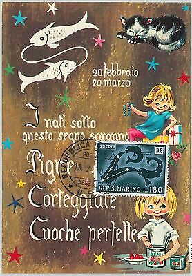 63787 -  SAN MARINO - POSTAL HISTORY: MAXIMUM CARD 1970  Horoscope ZODIAC Pisces
