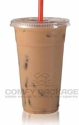 COMFY PACKAGE Plastic CRYSTAL CLEAR Cups with Flat Lids for Cold 50 Sets 24 oz.