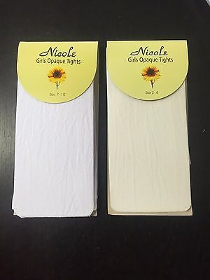 Nicole Flower Girl Wedding Party Holy Communion White Nylon Opaque Tights  1-14Y