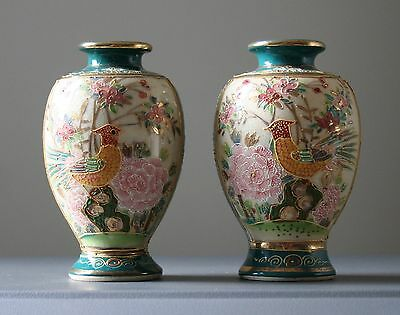 "Pair Of Exquisite Vintage Japanese Satsuma Moriage Golden Pheasant 3 1/2"" Vases"