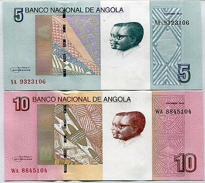 Angola Set 2 Unc 5 10 Kwanzas 2012 / 2017 P New Design