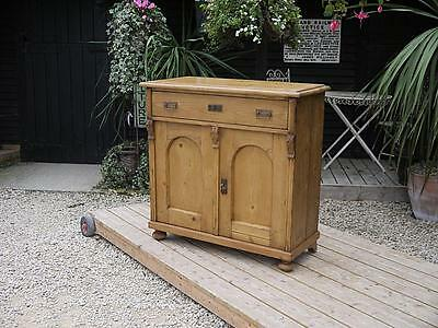 Lovely Old Antique (Victorian) Stripped Pine Dresser Base/sideboard/cupboard