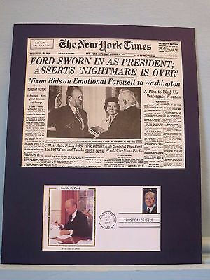 Gerald Ford succeeds Richard Nixon & the First Day Cover of his own stamp