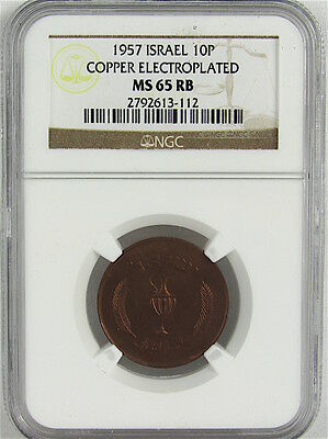 Israel 1957 10 Pruta - Copper Electroplated Ngc Ms65Rb
