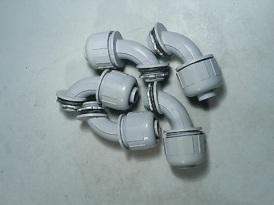 "LIQUID TIGHT 1/2"" NON METALLIC ELECTRICAL CONDUIT 90 Deg CONNECTOR - LOT OF 5"