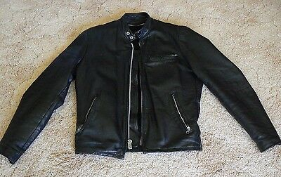 Vintage 70's Black Lesco Leather Motorcycle Jacket with Zip-In Liner Size 36
