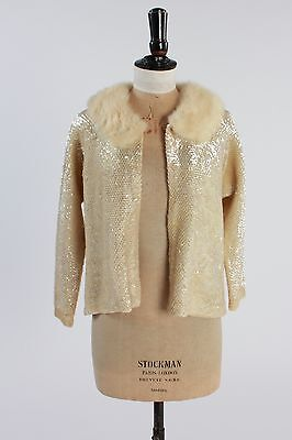 Vintage original 50s original irridescent sequin cardigan real fur collar S M