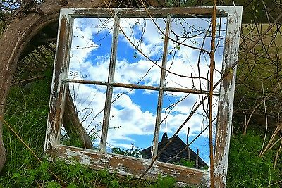 Vintage Sash Antique Wood Window Unique Frame Pinterest Shabby Chic Mirror 32X28
