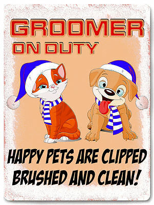 DOG CAT grooming METAL SIGN pet store display funny vintage style decor art 658