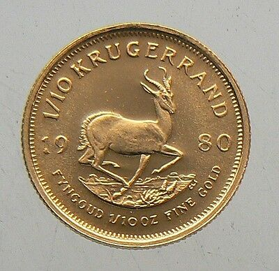 1980 SOUTH AFRICA 1/10 oz KRUGERRAND GOLD COIN BU