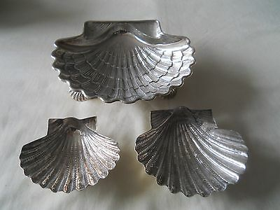 Three Sterling Shell Bon Bon Nut Dishes